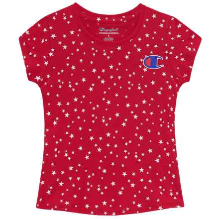Champion Star Print T-Shirt - Short Sleeve (For Toddler and Little Girls) in Champion Scarlet - Closeouts