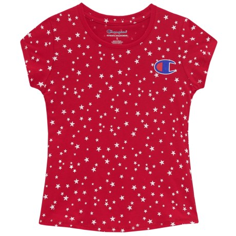 Champion Star Print T-Shirt - Short Sleeve (For Toddler and Little Girls) in Champion Scarlet