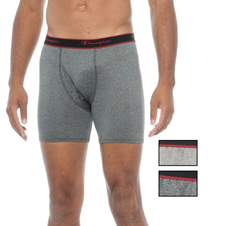 Champion Stretch Boxer Briefs - 3-Pack (For Men) in Black/Medium Charcoal Heather/Black