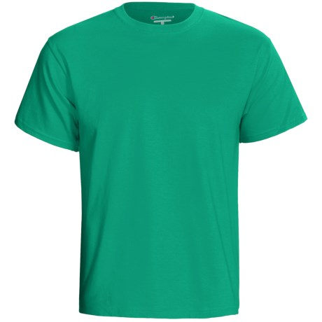 Champion Tagless T-Shirt - Cotton, Short Sleeve (For Men and Women) in Medium Green