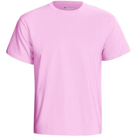 Champion Tagless T-Shirt - Cotton, Short Sleeve (For Men and Women) in Pink