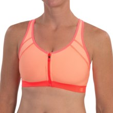 Champion The Zip Sports Bra - High Impact (For Women) in Washed Melon/Flashlight - Closeouts