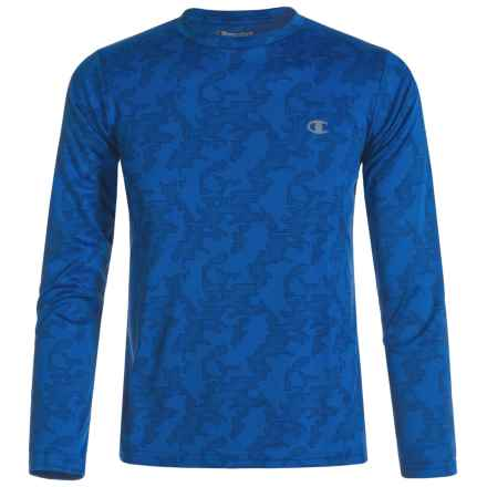 Champion Tonal Splat Camo T-Shirt - Crew Neck, Long Sleeve (For Big Boys) in Team Blue - Closeouts