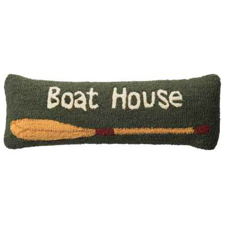 "Chandler 4 Corners Boat House Hooked Wool Pillow - 8x24"" in Multi - Closeouts"