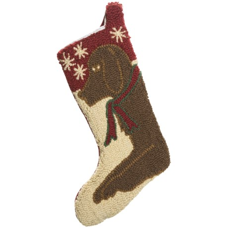 Chandler 4 Corners Christmas Stocking - Hooked Wool in Choc Lab