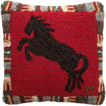 "Chandler 4 Corners Cinnamon Horse Hooked Pillow - 18x18"" in Multi - Closeouts"