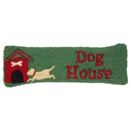 "Chandler 4 Corners Doghouse Hand-Hooked Wool Pillow - 8x24"" in Green - Closeouts"