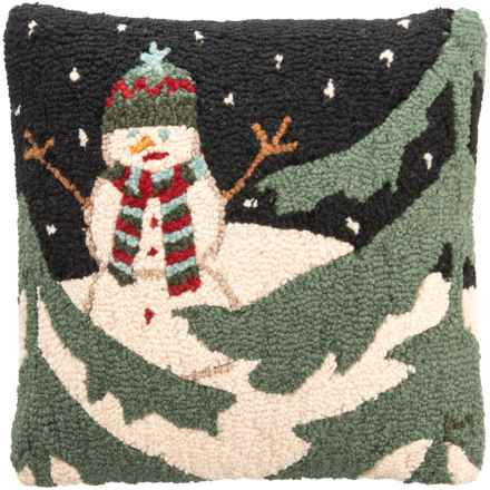 "Chandler 4 Corners Evening Snowman Hooked Pillow - 18x18"" in Multi - Closeouts"