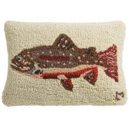 """Chandler 4 Corners Hand-Hooked Wool Pillow - 14x20"""" in Brook Trout - Closeouts"""