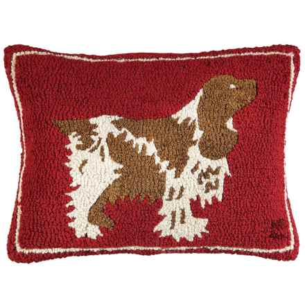 "Chandler 4 Corners Hand-Hooked Wool Pillow - 14x20"" in Spaniel On Red - Closeouts"