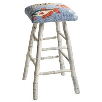 Chandler 4 Corners Hickory and Wool Bar Stool in Swim In