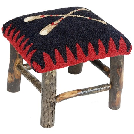 Chandler 4 Corners Hickory and Wool Foot Stool in Canoe Paddle