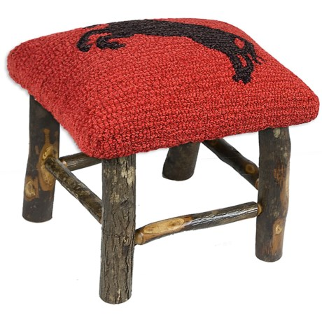 Chandler 4 Corners Hickory and Wool Foot Stool in Cinnamon Horses