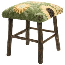 Chandler 4 Corners Hickory and Wool Foot Stool in Sunflowers - Closeouts