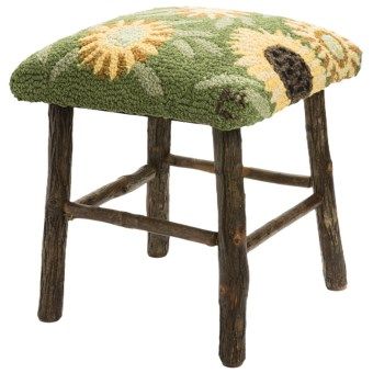 Chandler 4 Corners Hickory and Wool Foot Stool in Sunflowers