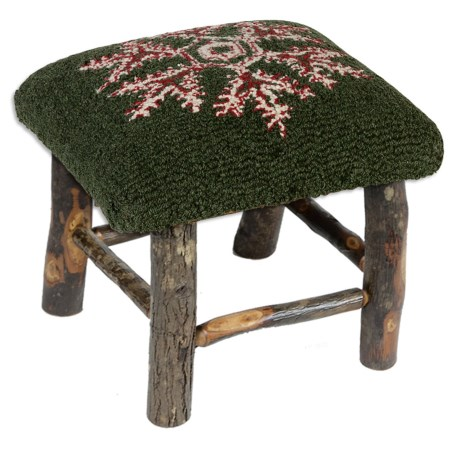 Chandler 4 Corners Hickory and Wool Foot Stool in Winter Flake