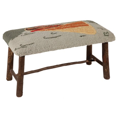 Chandler 4 Corners Hickory and Wool Twig Bench in Guide Boat