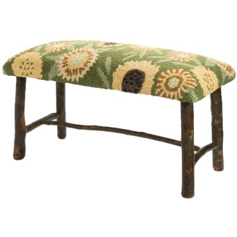 Chandler 4 Corners Hickory and Wool Twig Bench in Sunflowers