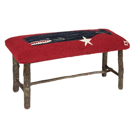Chandler 4 Corners Hickory and Wool Twig Bench in Whale