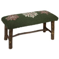 Chandler 4 Corners Hickory and Wool Twig Bench in Winter Flake
