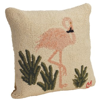 "Chandler 4 Corners Hooked Cotton Pillow - 18x18"" in Flamingo"