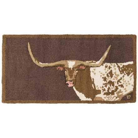 Chandler 4 Corners Hooked Wool Accent Rug - 2x4' in Longhorn On Brown - Closeouts