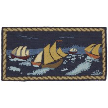 Chandler 4 Corners Hooked Wool Area Rug - 2x4' in Stormy Seas - Closeouts