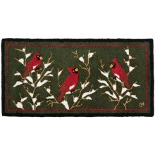 Chandler 4 Corners Hooked Wool Area Rug - 2x4' in Three Cardinals - Closeouts