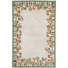 Chandler 4 Corners Hooked Wool Area Rug - 6x9' in Village Green - Closeouts