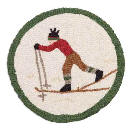 "Chandler 4 Corners Hooked Wool Chair Pad - 14"" Round in Cross Country Skier - Closeouts"