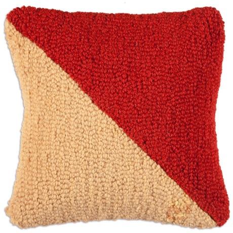 "Chandler 4 Corners Hooked Wool Decorative Pillow - 14"", Square in ""O"" Nautical Flag"