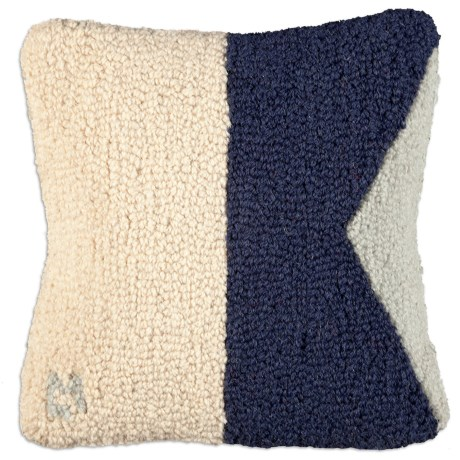 "Chandler 4 Corners Hooked Wool Decorative Pillow - 14"", Square in A Nautical Flag"