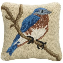 "Chandler 4 Corners Hooked Wool Decorative Pillow - 14"", Square in Bluebird - Closeouts"