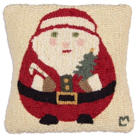 "Chandler 4 Corners Hooked Wool Decorative Pillow - 14"", Square in Roly Round Santa"