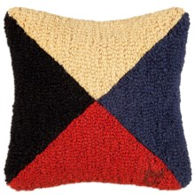 """Chandler 4 Corners Hooked Wool Decorative Pillow - 14"""", Square in Z Nautical Flag - Closeouts"""
