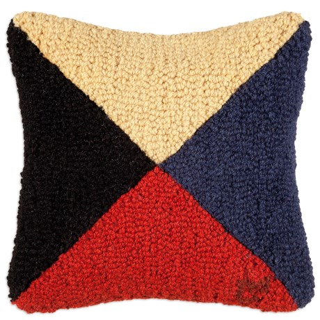 "Chandler 4 Corners Hooked Wool Decorative Pillow - 14"", Square in Z Nautical Flag"