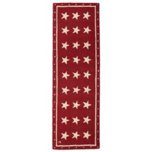 Chandler 4 Corners Hooked Wool Floor Runner - 2.5x8' in White Stars On Red - Closeouts