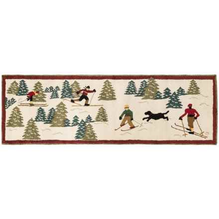 Chandler 4 Corners Hooked Wool Floor Runner - 2.5x8' in Cross Country Skiing - Closeouts