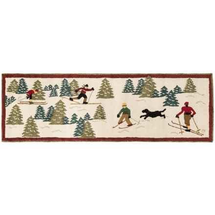 Chandler 4 Corners Hooked Wool Floor Runner - 2.5x8' in Cross Country Skiing - Closeouts