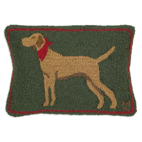 "Chandler 4 Corners Hooked Wool Pillow - 14x21"" in Handsome Tan Dog"