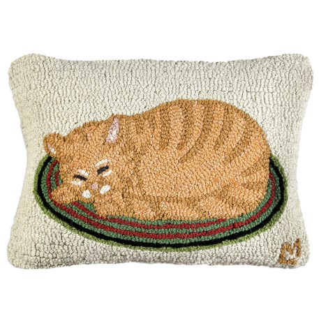 "Chandler 4 Corners Hooked Wool Pillow - 14x21"" in Marmalade Cat"
