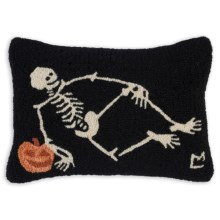"""Chandler 4 Corners Hooked Wool Pillow - 14x21"""" in Skeleton - Closeouts"""