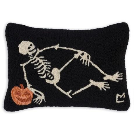 "Chandler 4 Corners Hooked Wool Pillow - 14x21"" in Skeleton"