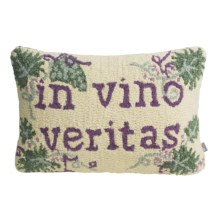 "Chandler 4 Corners Hooked Wool Pillow - 14x21"" in Vino Veritas - Closeouts"