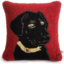 "Chandler 4 Corners Hooked Wool Pillow - 18""x18"" in Akc Black Lab"