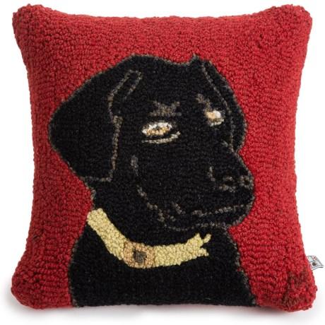 "Chandler 4 Corners Hooked Wool Pillow - 18""x18"" in Akc Black Lab"