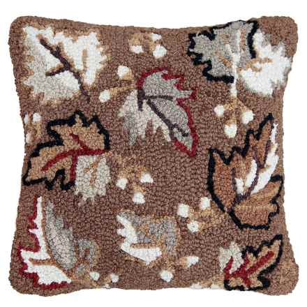 "Chandler 4 Corners Hooked Wool Pillow - 18""x18"" in Autumn Leaves - Closeouts"
