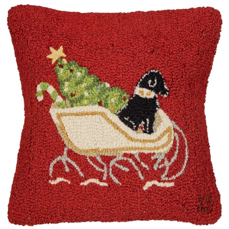 """Chandler 4 Corners Hooked Wool Pillow - 18""""x18"""" in Black Lab On Red Sleigh Dog"""