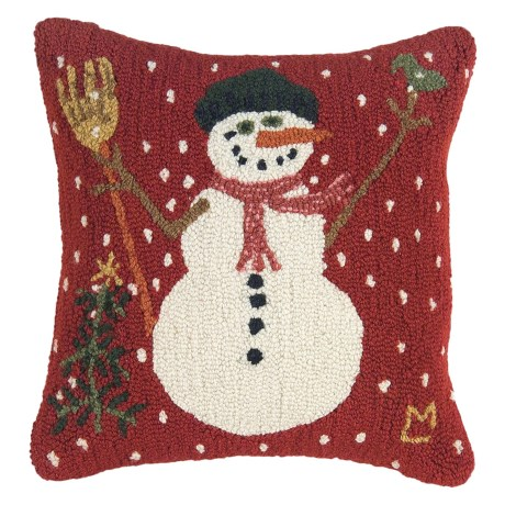 """Chandler 4 Corners Hooked Wool Pillow - 18""""x18"""" in Carrot Nose"""