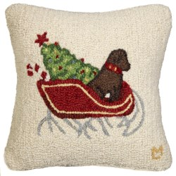 "Chandler 4 Corners Hooked Wool Pillow - 18""x18"" in Chocolate Lab Sleigh Dog"